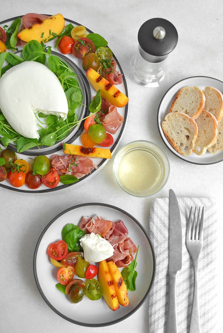 heirloom tomato and grilled peach salad1