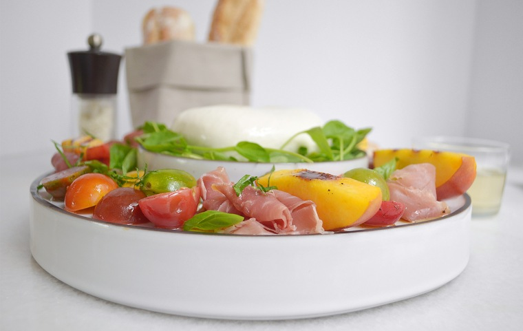heirloom tomato and grilled peach salad3